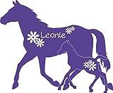 GRAZDesign 300052_57_WT043 Wandtattoo Name für Mädchenzimmer - Wunschname mit Pferd Fohlen Blumen (69x57cm//043 Lavendel)