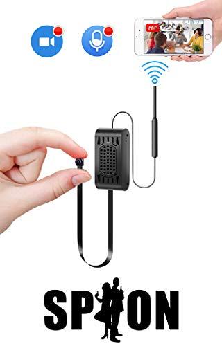 Mini WLAN Kamera mit akku WiFi,HelloCam Getarnte Live Gucken HD Mini Überwachungskamera IP Kleine Kamera mit Bewegungserkennung Mikrofon 13.5 cm langem, flexiblen Verbindungskabel weltweitem Zugriff Wifi Spy