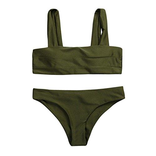 Damen Bikini Set Sonnena Frauen Bademode Schwarz/Weiß Beachwear Split Badeanzug Swimwear Breite Riemen Dreieck Top Push-up Gepolsterten Bandeau +Bikinihose Swimsuit Strandkleidung (S, Sexy Armeegrün) (Riemen-bustier)