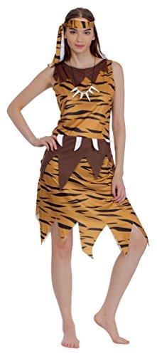 Karneval-Klamotten Höhlenmensch Kostüm Damen Neandertaler Urmensch Kostüm Fell Karneval Steinzeit mit Kette Stirnband Karneval Damen-Kostüm Größe ()