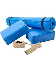 ScSPORTS - Juego de accesorios para yoga (incluye esterilla, 2 bloques y cuerda)