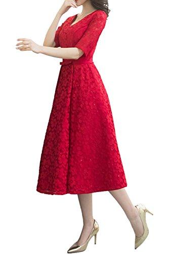 TOSKANA BRAUT Rot Neu-V-Neck Spitze 2017 Band Schleife Partykleider WadenWadenlang Abendkleider Promkleider mit Halbarm Rot
