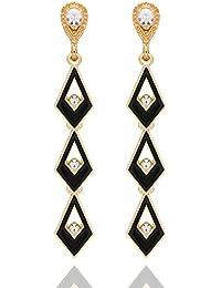 Crunchy Fashion Jewellery Gold Plated Stylish Black Crystal Drop Earrings For Girls Fancy Party Wear Earrings...