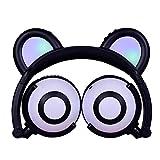 UMCCC Ohrenschützer Bluetooth Kopfhörer, Kind Stereo Over-Ear-Kopfhörer, Faltbare Sport mit LED-Licht für Kinder Musik Kopfhörer,Black