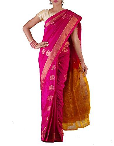 Unnati Silks Women Pink-Yellow Uppada Handloom Sico Saree(UNM22661)