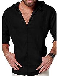 cb1a09fc2f60e Qiansu Camisa de Lino para Hombre de Manga Larga Camisa Ocasional del Ocio  Sudaderas con Capucha Superior Blusa Floja Camisa…