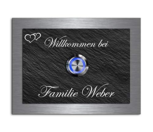 Gravur und LED-Klingelknopf und über 100 Motive personalisierbar 12x9 cm | Modell: Weber-e | gravierte Klingel aus Schiefer und Edelstahl Klingelschild Klingelplatte beschriftet ()
