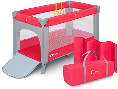 Lionelo Suzie Kinderreisebett Reisebett Baby Laufstall Faltmatratze 120x60 Tragetasche Moskitonetz (Rosa) (Baby-rosa Laufstall)