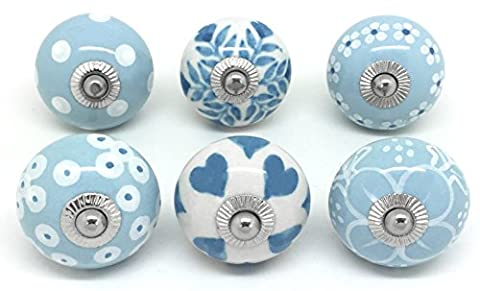 Set of 6 Marina Blue & White Ceramic Door Knobs by These Please S6-3