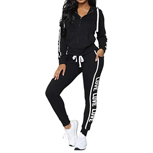 BaZhaHei Mode Damen Tops Frauen Casual Streifen Reißverschluss Langarm Pullove Sport Tops + Lange Hosen Set Lace Cowl