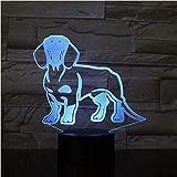 Luci Notturne 3D Lampada Da Tavolo Salsiccia Cane Bassotto Camera Per Bambini Lampada Da Notte Lampada Da Tavolo Wiener-Dog Pet Puppy Glowing Led Illusione Ottica Lampada Illuminazione Decorativa
