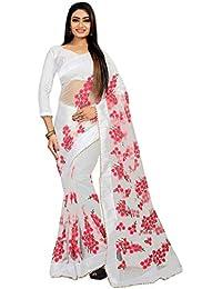 Sabaira Women's Mono net Fabric White Color Embroidery Work Saree (SBRSA3192_White_Free Size)
