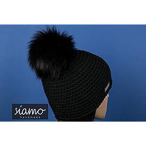 Mütze LIMA schwarz 100 % Babyalpaka mit Echtfellbommel