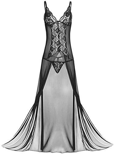 Avondii Damen Nachtwäsche Große Größen Elegant Lang Nachtkleid mit Panties J1003 (3XL, A - Schwarz)