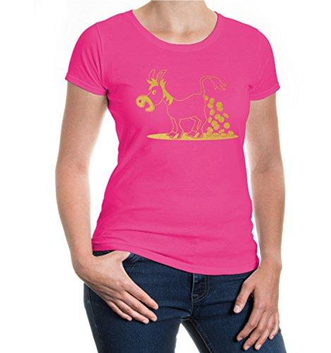 buXsbaum® Girlie T-Shirt Geldesel Fuchsia-Gold