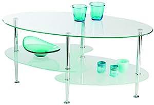 Table basse moderne 3 plateaux en verre