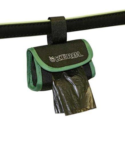 Kerbl 83453 Tasche für Kotbeutel aus Nylon, 8 x 5,5 cm, schwarz / grün