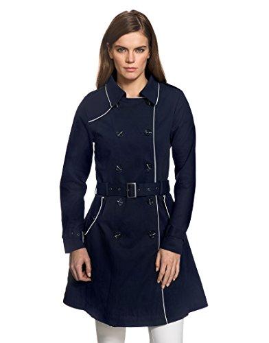 Vincenzo Boretti Damen Trenchcoat 100% Baumwolle Mantel Übergangs-Jacke modern elegant Übergang Style für Frühling Herbst Sommer sowie Business und Freizeit dunkelblau XS - 3