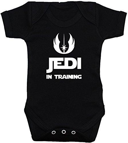 Mono corto para bebés de 0 a 12 meses «Jedi in Training» negro negr