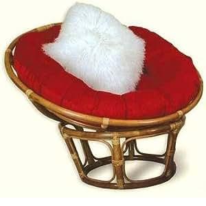 Single Rattan Wicker Pier Papason Lobster Moon Lounge Chair + Red Cushion. Ultimate Luxury Antique Corner Chair Design