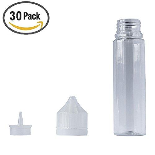 60ml x 30 Pack E Zigarette Liquid-Flaschen mit Tröpfler   Squeezable leere Tropfflasche  Lebensmittelecht Gorilla PET transparente Plastikeinhorn-Ölflasche   mit Spitze kindersicheren Manipulations-Kappen für Flüssigkeit (Leere Pet-flaschen)