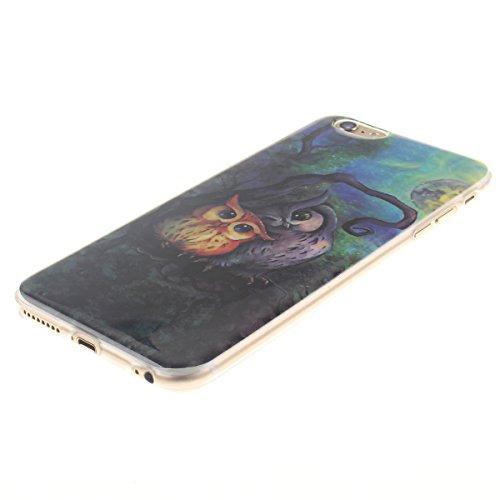 """iPhone 6S Plus Etui, Coque Case de Protection pour Apple iPhone 6 Plus 6S Plus 5.5"""" Anti Choc, Très Mince Poids Léger TPU Joli Coloré Peinture Motif Serie - Beau Bleu Fleur Noir-4"""