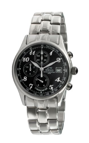 gino franco Men's 944BK Round Stainless Steel Chronograph Bracelet Watch