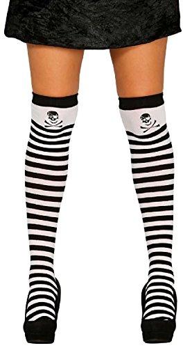 Damen Schwarz & Weiß Gestreift Pirat Skull Totenkopf & gekreuzten Knochen Fancy Kleid Halloween-Kostüm Outfit Strümpfe Halterlose Socken - Schwarz / Weiß, (Kostüm Schwarz Weiß Und Piraten)