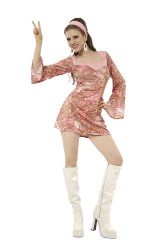 TH-MP Disco Damenkostüm 70er 80er Jahre Hippie Girl (Hippie Girl Sexy Kostüm)