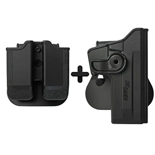IMI Defense Tactical Combo Z1070 Best Roto Retention Paddle Holster + Double Magazine Pouch Black Polymer For Sig Sauer 226 (9mm/.40/357), P226 Tactical Operations (Tacops) Pistol Handgun -