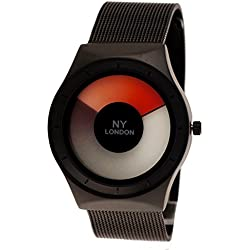 NY London Designer Women Men's Watch Future Look Black Charcoal Red + Watch Box