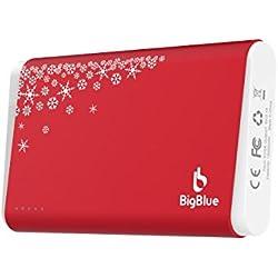 BigBlue Chaufferette Main Electrique 3 en 1, 10000mAh Batterie Externe avec Lampe de Poche, Chauffe-Mains Reutilisable Rechargeable par USB pour Ski Randonnée Camping Cadeaux de Noël, Rouge