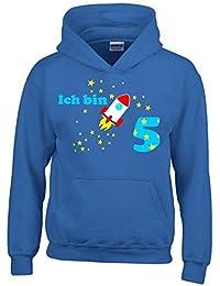 Ich bin 5 Jahre ! - Jahreszahl mit Rakete Sterne Kinder Geburtstag Sweatshirt mit Kapuze HOODIE für Jungen Birthday Gr. 116 cm, 128cm, 140cm Kindergeburtstag feiern, Einladung, Geschenk für Jungs