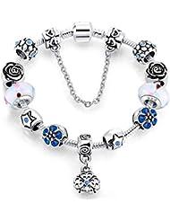 37cdee713a2d Pulseras para Mujer Pulsera De Cristal De Moda Pandora Estilo Rosa Plateado  Joyas Patrón Corazón Colgante