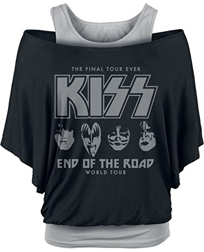 KISS End of The Road Faces Camiseta Negro/Gris L