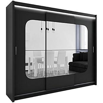 Kleiderschrank schiebetüren spiegel  Kleiderschrank mit Spiegel und LED-Beleuchtung Barcelona, Modernes ...
