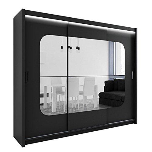Kleiderschrank mit Spiegel und LED-Beleuchtung Barcelona, Modernes Schwebetürenschrank, 250 x 215 x 61 cm, Schiebetür, Schlafzimmerschrank,...