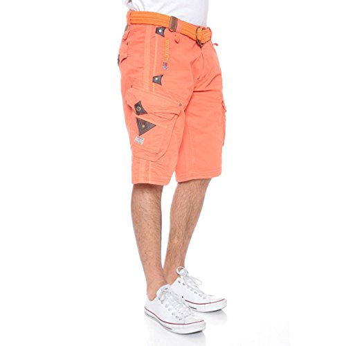 Geographical Norway Herren Cargo Shorts Perle inkl.Gürtel Orange