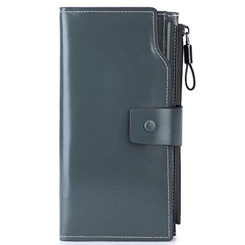 Leder Blau (S-ZONE Damen groß Kapazität Luxus echtes Leder Geldbörsen mit Reißverschluss-Tasche (Grau Blau))