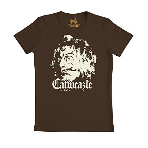 (Catweazle T-Shirt - Catweazle sucht das magische Zeichen - braun - Rundhals T-Shirt - Original Marke TRAKTOR, Größe S)