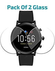 POPIO Tempered Glass Screen Protector FOR Fossil Carlyle/Fossil Julianna GEN 5 Digital Smartwatch (Transparent) Edge To Edge Full Screen Coverage With Installation Kit, Pack of 2