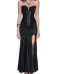 r-dessous sexy Corsagenkleid Corsage + Rock Mini Kleid schwarz lang Cocktailkleid Partykleid Abendkleid Gothic