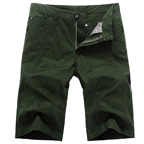 UJUNAOR Männer Casual Pure Farbe Strandhose Cargo Shorts Hose Bermuda Shorts Sport Freizeithose Kurze Hosen(Grün,EU 48/CN 32)