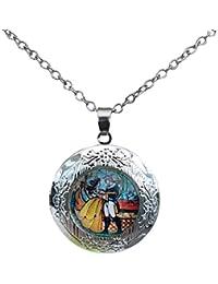 Joyas de película - Medallón vintage de «La bella y la bestia», cabujón de cristal colgante, joyería romántica bañado en plata