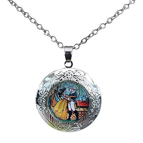 Film-Schmuck Halskette mit Anhänger, Medaillon, romantisch, versilbert, tolles Geschenk für (Film Friendship)