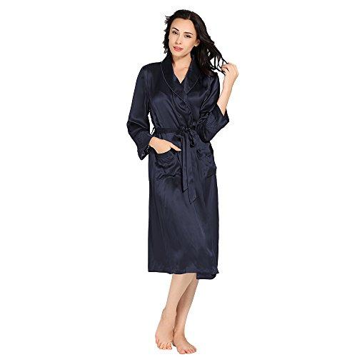 LilySilk Camicia Da Notte Seta Di Donna In 22 Momme Pura Seta Contra Blu-Marino