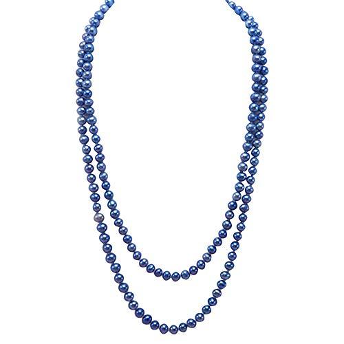 JYX Blue Pearl Halskette mit Süßwasserzuchtperlen 6-8mm lange perlenkette 120cm