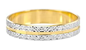 Kareco Wedding Ring, 9 Carat Two Colour Gold Light Flat Diamond Cut, 4mm Band Width