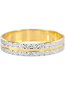 Kareco Ehering, 9 Karat, Zwei Farbig, Gold Light Flat Diamond Cut, 4mm Bandbreite