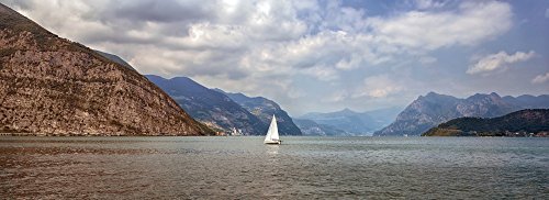 Sailing boat on Iseo Lake, Lombardy, Italy Poster Print by Panoramic Images (36 x 13)